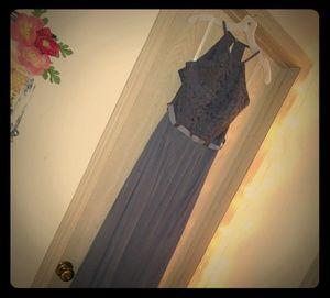 David's bridal dress, size 6 pewter grey